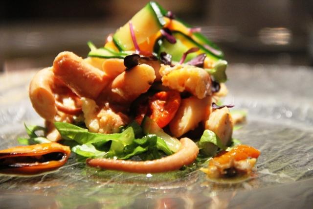 insalata di polipo con tagliatelle di verdure